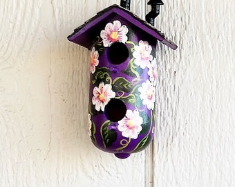 Purple with Pink Flowers  Decorative Birdhouse , with Two Holes , Hand Painted , and a Chimney