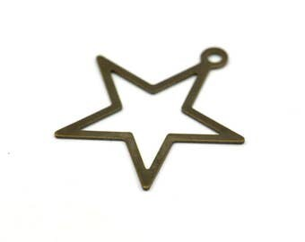 Open Star Charm, 100 Antique Brass Star Charms, Findings with 1 Loop (24mm) K157