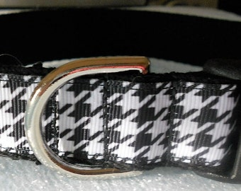 Houndstooth Dog or Puppy Collar - Black and White Houndstooth Pattern, Sophisticated