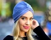 Turban Hat Denim Blue Tie Dye  Stretch Turban Tichel Hijab Hair Snood Doo Rag Hair Scarf Shibori Tiedye Beach Turban Head Covering Biking