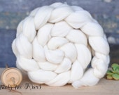 FRENCH RAMBOUILLET Undyed Combed Top Wool Roving Spinning Felting fiber - 4 oz