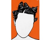 Bjork Tea Towel, Bjork Towel, Bjork Kitchen Towel, Bjork Merchandise, Orange Tea Towel, Orange Dishcloth
