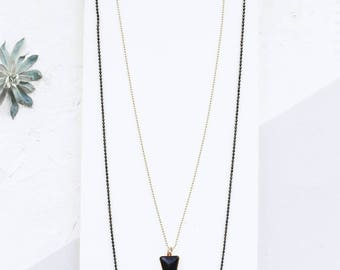 Necklace Jagger, Black Necklace, Triangle Pendant, Double chains, Long Layered Necklace, Multi Strand Necklace
