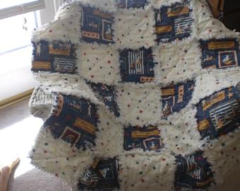 Nautical baby boy rag quilt
