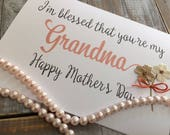 Mothers day card Grandma Mother Sister Daughter 5 x 7 mixed media print ready to ship purchase by May 3 handlettered style BeachHouseDreams