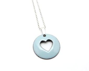 Light Blue Heart Necklace - Blue Heart Pendant Necklace - Pastel Blue Enamel Pendant