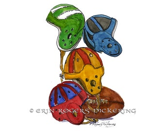 Vintage Football Helmets 8x10 art print man cave