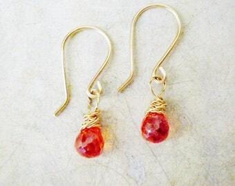 Drop earrings, Orange Cubic Zircone, 14k gold filled earrings