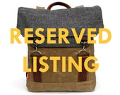 RESERVED Traveller Waxed Canvas Backpack / Padded Straps / Rust Speckle Vintage Wool & Oiled Leather