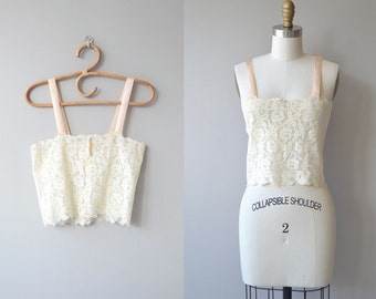 Evie filet lace camisole | vintage 1920s camisole | filet lace 20s lingerie