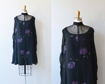 Jessamine dress | vintage 1970s dress | sheer black chiffon 70s trapeze dress