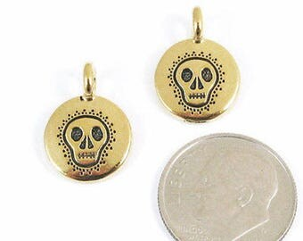 TierraCast Pewter Charms-GOLD ROUND SKULL 12x16mm (2)