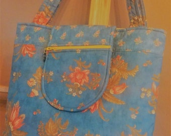 Floral Purse/Tote Bag with Zippered Phone Phlap / Item # 71