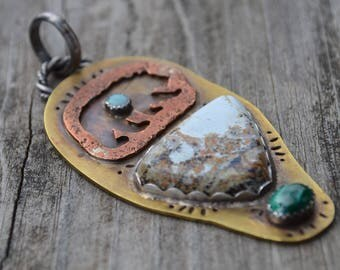 Bear Pendant Wild Horse Magnisite, Malachite and Opal in Hand Built Mixed Metals