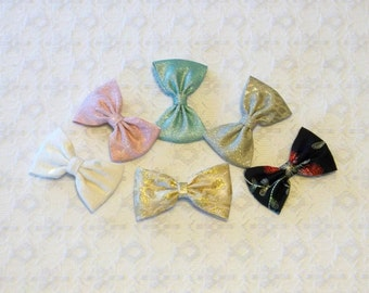 Sparkly Fancy Brocade Lamé Hair Bow in 6 Colors