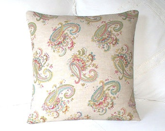 Kate Forman -  Florence - Paisley Cushion / Throw Pillow Cover - UK Designer Linen - Multi Colour Embroidery Effect - Cottage Chic - 18 x 18