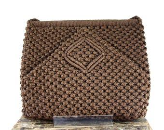 Vintage 1970's Brown Macrame Woven Hippie Bohemian Chic Purse Handbag Shoulder Bag Tote