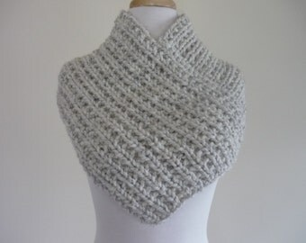 Knit Cowl, Knit Neck Warmer, Textured Rib Stitch Cowl Neck Warmer in Wheat - Wool Blend - Soft Cowl - Warm Cowl - Ready to Ship