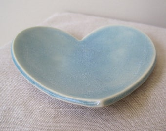 Dusty Blue Ceramic Heart Dish, Jewelry Holder, Ceramic Catch All, Heart Dish, Wedding Gift, Ring Dish, Jewelry Storage