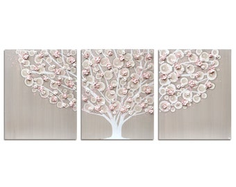 Girl Nursery Decor Art Painting of Tree Triptych Canvas - Warm Gray and Pink - Large 50x20