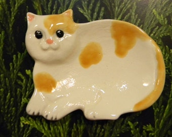 Cat Tea Bag Holder  or Ring Dish Jewelry holder ceramic  Ring bearer wedding  spoon rest ............ ready to ship