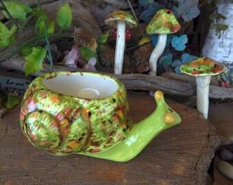 Garden SNAIL Planter  Vase - Vintage style -   Green Crystal  Glazed ceramic Fabalous OOAK Colors succulent  Catcus  pot