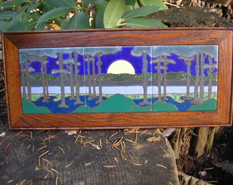 Moon River Framed Tile Trio, AVAILABLE NOW, arts and crafts, mission style, decorative tile