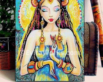 Quan Yin Praying Woman Goddess Art home decor wall decor Indian woman painting inspirational art, woman art, ACEO wood block, ABDG