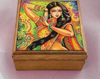 feminine beauty bollywood dance Indian decor beautiful Indian woman painting belly dance, keepsake box, jewelry box, 3.5x3.5+