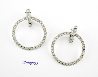 Rhinestone Earrings Hoop Clip on