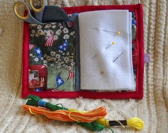 Americana Needle Book, Needle Case, Hand Sewing Organizer