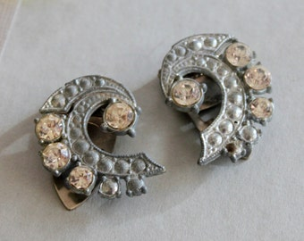 Antique Rhinestone Shoe Clips Edwardian 1910s