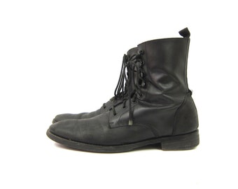 vintage black leather ankle boots Cole Haan Military Lace Up Boots Side Zippers Hipster Grunge Dress Boots Men's Size