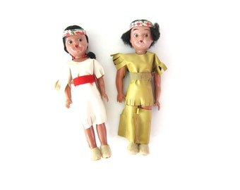 Vintage Plastic Native American Indian Dolls Two small plastic dolls Moveable Arms