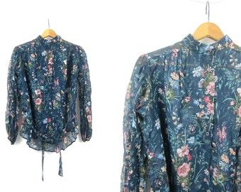 Sheer Blue Blouse 1970s Pullover Boho Blouse Peasant Shirt Bohemian Chic Tie Waist Vintage Women's Size Large