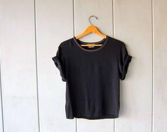 Minimal Black Top Cropped 90s Short Sleeve Rayon Tee BLACK Crop Top Vintage Black TShirt Modern Blouse Women's XS Small