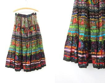 Long Colorful Print Maxi Skirt Bohemian Chic Festival Hippie Skirt 1990s High Waist Revival Skirt Watercolor Pattern Womens size Medium