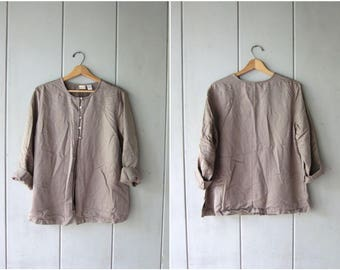 Minimal Taupe SILK Blouse 90s Airy Open Shirt Casual Long Sleeve Collarless Blouse Vintage Modern Silk Top Open Slit Blouse Womens Large