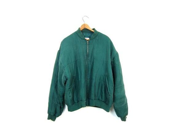 80s green silk puffer jacket Puffy minimalist silk coat zipper up silk jacket 1980s minimal hipster coat Womens Large