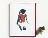 Penguin Lover Winter Card Letterpress Holiday Cards Christmas Set of 12