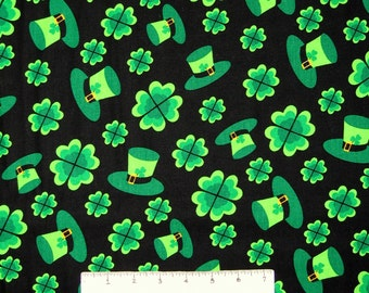 St Patrick's Day Fabric - Green Clover & Hat Toss Black - Springs YARD
