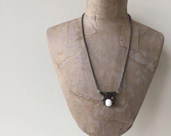 white & gunmetal cube necklace