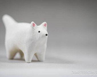 Pottery Arctic Fox - Miniature Ceramic Porcelain Clay Animal White Sculpture Decorative Home Decor Ornament - Terrarium Figurine