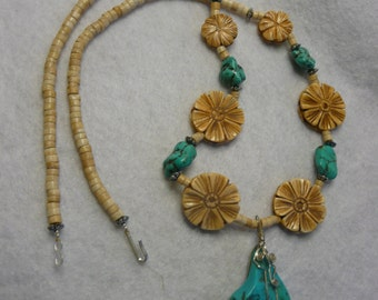 Southwestern Turquoise and Bone Necklace with Turquoise Wirewrap Nugget Pendant