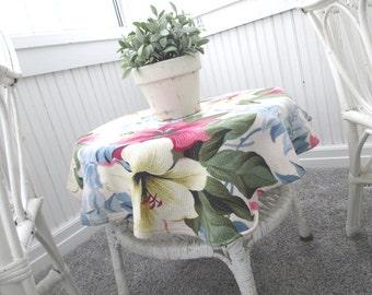 Vintage Table Topper * Barkcloth * Handmade * Shabby * Farmhouse * Cottage