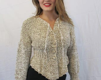BASIA DESIGNS Hand knit cotton peplum sweater jacket with ruffled cuffs
