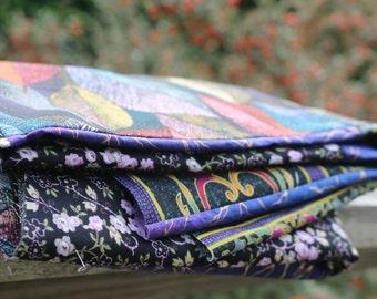 Purple Gold Eclectic patchwork quilt top Unfinished Purple Quilt top Cotton quilt top lap quilt top Purple throw quilt top
