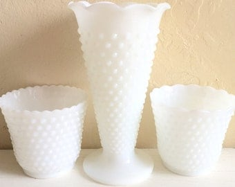 Set of 3 Three Hobnail Milk Glass Vases Unique Tall Large White Centerpiece