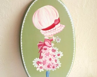 Vintage Painted Bonnet Girl Wood Picture Wall Hanging Large Big