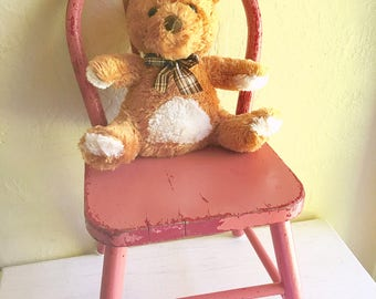 Antique Chippy Shabby Chic Childs Chair  Painted Wood Pink Red Photo Prop